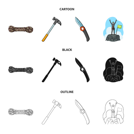 Climber on conquered top, coil of rope, knife, hammer.Mountaineering set collection icons in cartoon,black,outline style bitmap symbol stock illustration web.