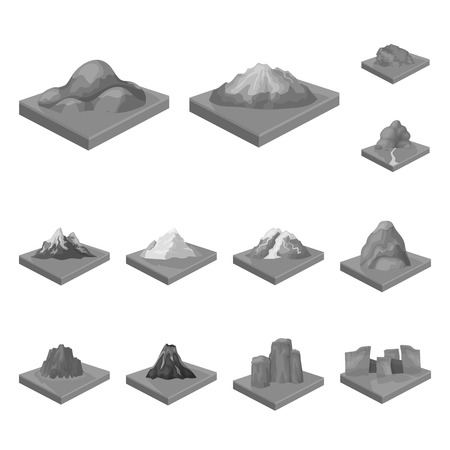 Mountains, massive monochrome icons in set collection for design. The surface of the earth bitmap isometric symbol stock web illustration. Foto de archivo - 111709444