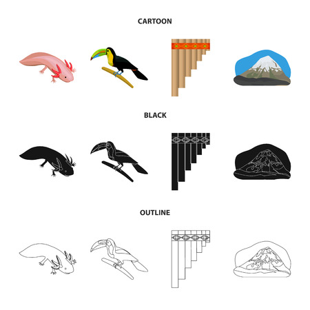 Sampono Mexican musical instrument, a bird with a long beak, Orizaba is the highest mountain in Mexico, axolotl is a rare animal. Mexico country set collection icons in cartoon,black,outline style bitmap symbol stock illustration web.