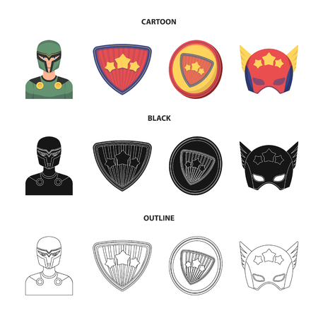 Man, mask, cloak, and other web icon in cartoon,black,outline style.Costume, superforce, icons in set collection.