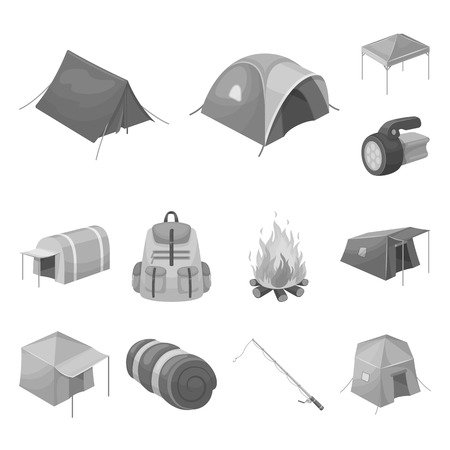 Different kinds of tents monochrome icons in set collection for design. Temporary shelter and housing bitmap symbol stock web illustration. Фото со стока