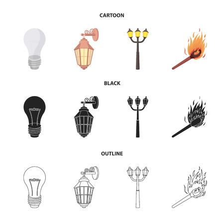 LED light, street lamp, match.Light source set collection icons in cartoon,black,outline style bitmap symbol stock illustration web. Archivio Fotografico - 111709622