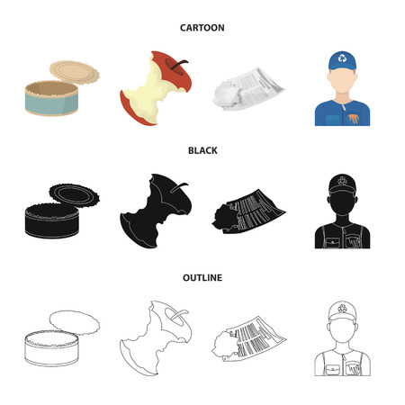 Can used used pot, apple stub, old dirty and wrinkled newspaper, the man who takes out the garbage.Garbage and trash set collection icons in cartoon,black,outline style bitmap symbol stock illustration web.