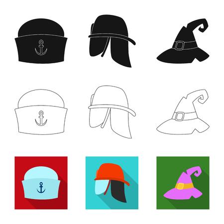 Vector illustration of headgear and cap . Collection of headgear and accessory vector icon for stock.