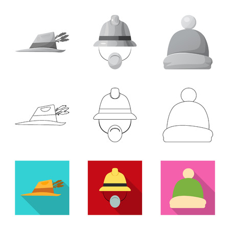 Vector design of headgear and cap symbol. Collection of headgear and accessory vector icon for stock. Ilustrace