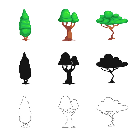 Isolated object of tree and nature . Collection of tree and crown stock symbol for web.