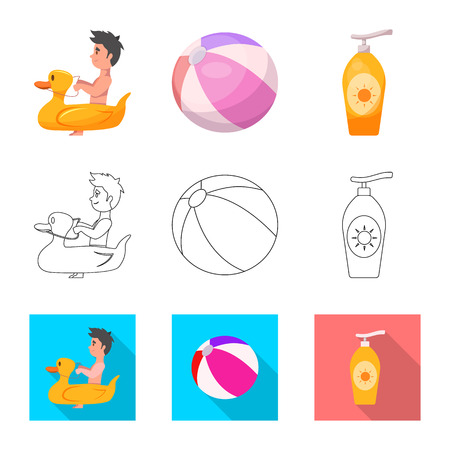 Vector illustration of pool and swimming . Collection of pool and activity stock symbol for web.