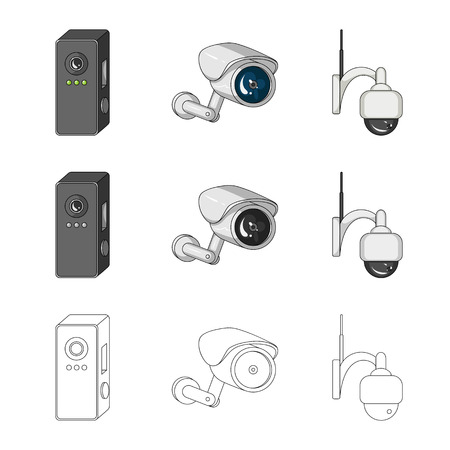 Isolated object of cctv and camera icon. Set of cctv and system stock symbol for web. 向量圖像