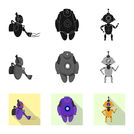 Isolated object of robot and factory symbol. Collection of robot and space stock vector illustration.