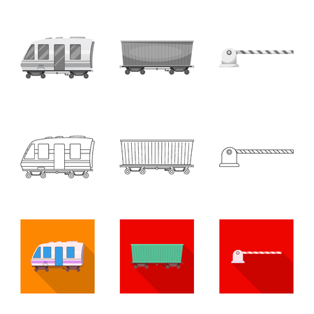 Isolated object of train and station . Set of train and ticket vector icon for stock. Illustration