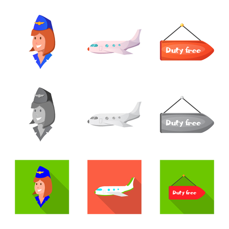 Vector illustration of airport and airplane symbol. Collection of airport and plane vector icon for stock. Иллюстрация