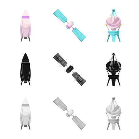 Isolated object of mars and space symbol. Set of mars and planet vector icon for stock. Иллюстрация