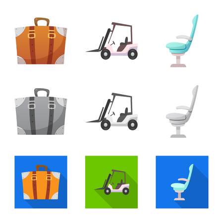 Vector illustration of airport and airplane symbol. Collection of airport and plane vector icon for stock. Çizim