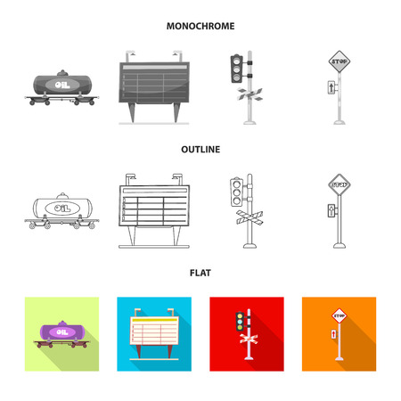 Isolated object of train and station . Collection of train and ticket vector icon for stock.