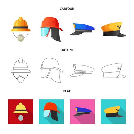 Vector design of headgear and cap symbol. Set of headgear and accessory stock vector illustration. Standard-Bild - 111752579