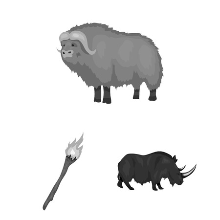 Life in the Stone Age monochrome icons in set collection for design. Ancient people bitmap symbol stock  illustration. Фото со стока