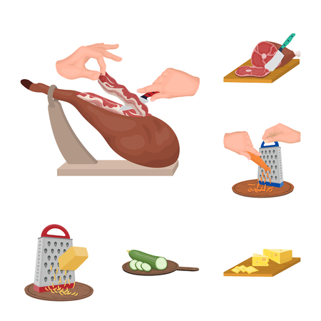 Cooking food cartoon icons in set collection for design. Kitchen, equipment and tools bitmap symbol stock  illustration. Reklamní fotografie