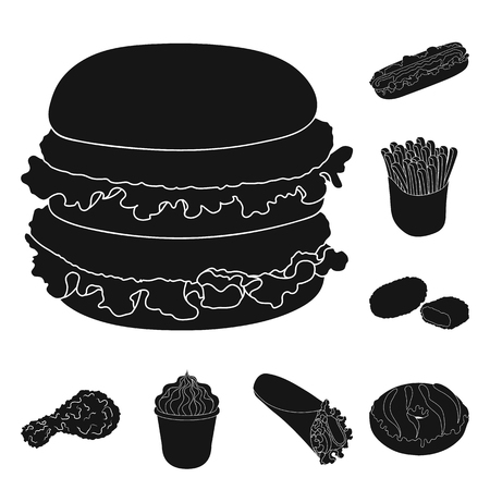 Fast food black icons in set collection for design.Food from semi-finished products bitmap symbol stock  illustration. Stock Photo