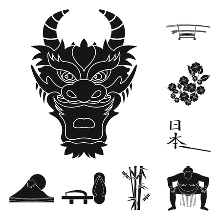 Country Japan black icons in set collection for design.Japan and landmark bitmap symbol stock  illustration. Archivio Fotografico