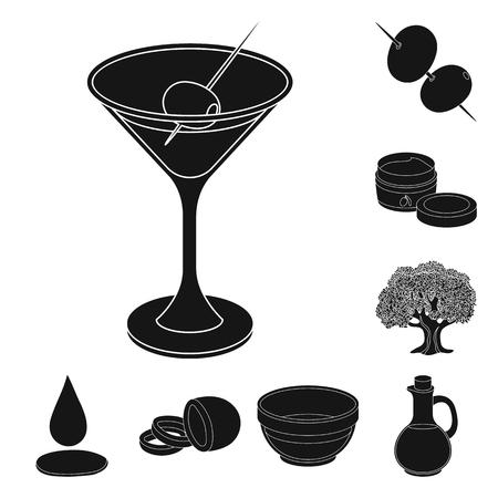 Olive, food black icons in set collection for design. Olive oil, seasoning bitmap symbol stock  illustration. Reklamní fotografie - 111768189