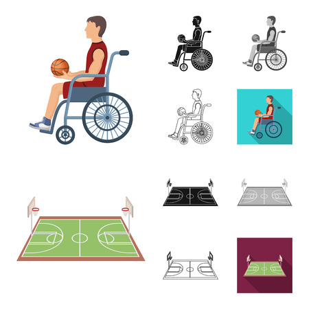 Basketball and attributes cartoon,black,flat,monochrome,outline icons in set collection for design.Basketball player and equipment bitmap symbol stock  illustration.