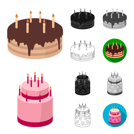 Cake and dessert cartoon,black,flat,monochrome,outline icons in set collection for design. Holiday cake bitmap symbol stock web illustration.
