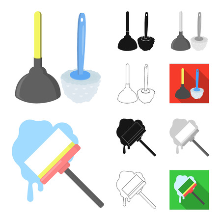 Cleaning and maid cartoon,black,flat,monochrome,outline icons in set collection for design. Equipment for cleaning bitmap symbol stock web illustration. Imagens