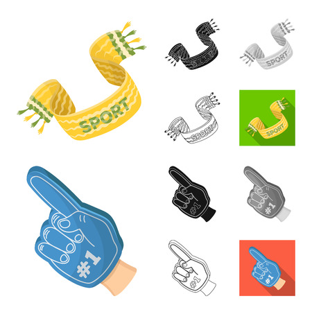 Fan and Attributes cartoon,black,flat,monochrome,outline icons in set collection for design. Sports Fan bitmap symbol stock  illustration.