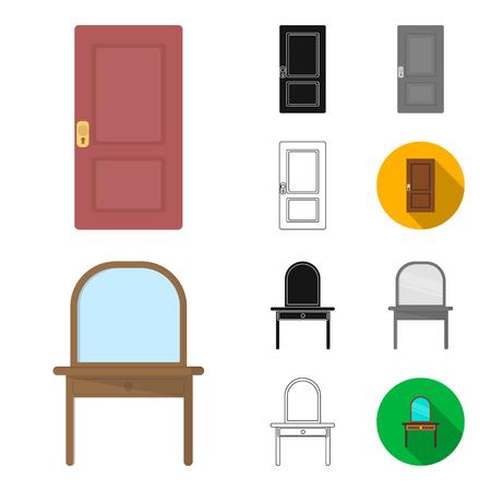 Furniture and interior cartoon,black,flat,monochrome,outline icons in set collection for design.Home furniture bitmap symbol stock  illustration. Foto de archivo
