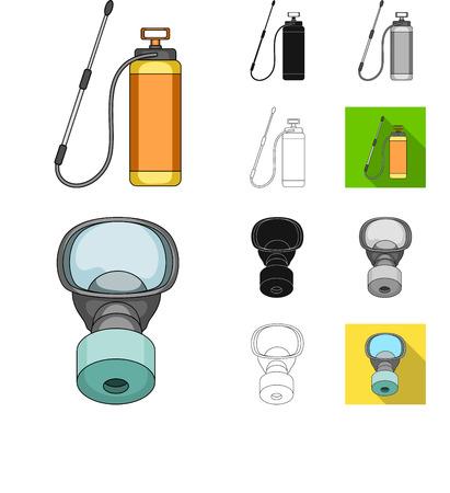 Pest, poison, personnel and equipment cartoon,black,flat,monochrome,outline icons in set collection for design. Pest control service bitmap symbol stock web illustration. Foto de archivo