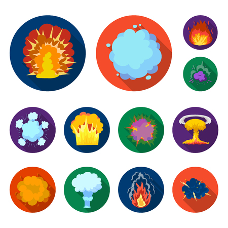 Different explosions flat icons in set collection for design.Flash and flame bitmap symbol stock web illustration.