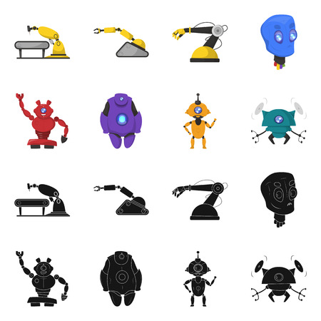 Vector design of robot and factory sign. Collection of robot and space stock vector illustration. Ilustrace