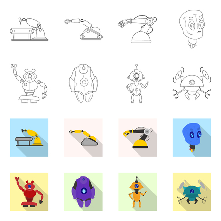 Vector illustration of robot and factory logo. Collection of robot and space stock symbol for web.