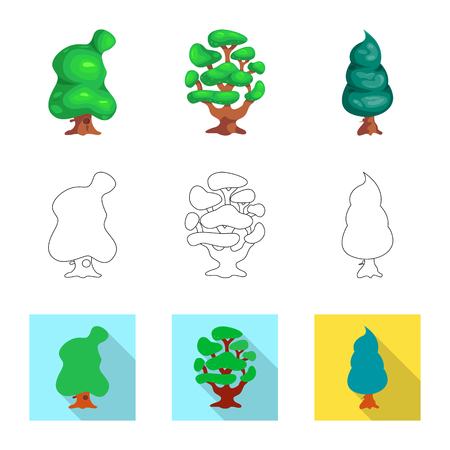 Vector design of tree and nature symbol. Collection of tree and crown stock vector illustration. Illustration
