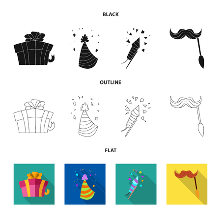 Isolated object of party and birthday sign. Set of party and celebration vector icon for stock. Illustration