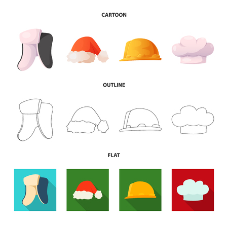 Isolated object of headgear and cap icon. Set of headgear and accessory vector icon for stock. Ilustracje wektorowe
