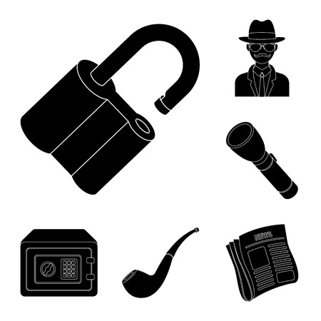 Detective and Attributes black icons in set collection for design.Detective Agency bitmap symbol stock web illustration.