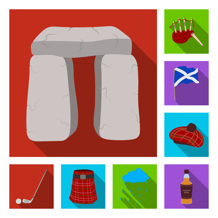 Country Scotland flat icons in set collection for design. Sightseeing, culture and tradition bitmap symbol stock web illustration.