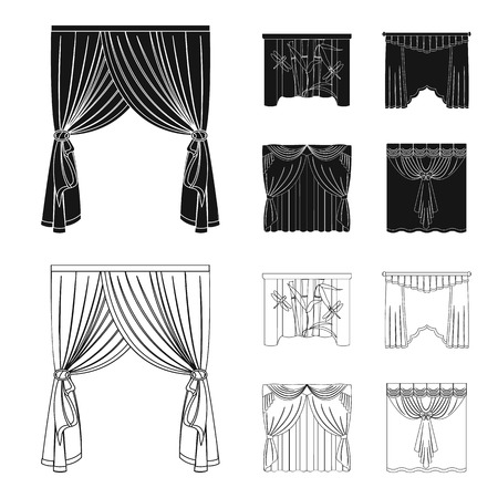 Embroidery, textiles, furniture and other web icon in black,outline style.Curtains, stick, cornices, icons in set collection.