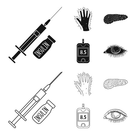 Syringe with insulin, pancreas, glucometer, hand diabetic. Diabet set collection icons in black,outline style bitmap symbol stock illustration web.