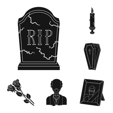 Funeral ceremony black icons in set collection for design. Funerals and Attributes bitmap symbol stock web illustration. Фото со стока