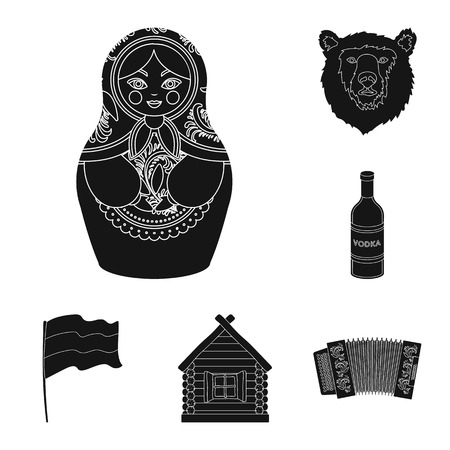 Country Russia, travel black icons in set collection for design. Attractions and features bitmap symbol stock web illustration.