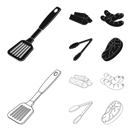 Blade kitchen, firewood, sausages and other for barbecue.BBQ set collection icons in black,outline style bitmap symbol stock illustration web.