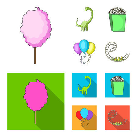 Sweet cotton wool on a stick, a toy dragon, popcorn in a box, colorful balloons on a string. Amusement park set collection icons in cartoon,flat style bitmap symbol stock illustration web.