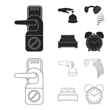Call at the reception, alarm clock, bed, shower.Hotel set collection icons in black,outline style bitmap symbol stock illustration web. Reklamní fotografie