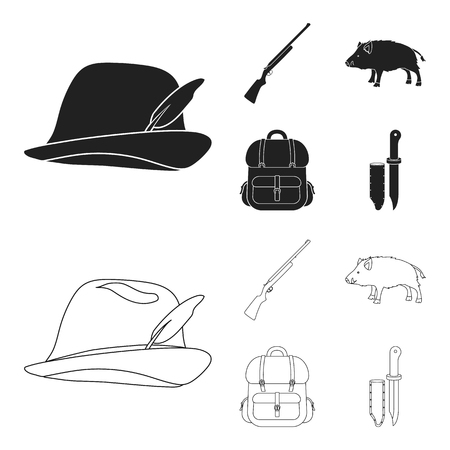 A hunting hat with a feather, a wild boar, a rifle, a backpack with things.Hunting set collection icons in black,outline style bitmap symbol stock illustration web. Banque d'images