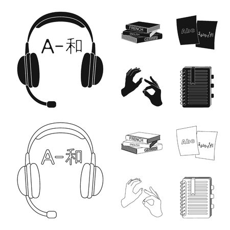 A pile of books in different languages, sheets of paper with translation, a gesture of deaf mutes, a notebook with text. Interpreter and translator set collection icons in black,outline style bitmap symbol stock illustration web.
