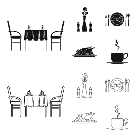Vase with a flower, table setting, fried chicken with garnish, a cup of coffee.Restaurant set collection icons in black,outline style bitmap symbol stock illustration web.