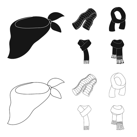 Various kinds of scarves, scarves and shawls. Scarves and shawls set collection icons in black,outline style bitmap symbol stock illustration web.