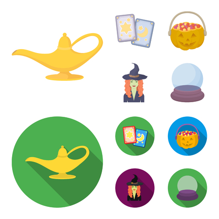 Tarot cards, holiday halloween, magician in a hat, crystal ball. Black and white magic set collection icons in cartoon,flat style bitmap symbol stock illustration web. Banco de Imagens